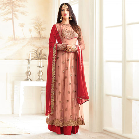 Festive Wear Peach And Red Partywear Designer Embroidered Long Anarkali Suit