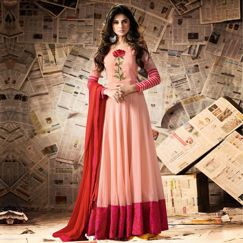 Red & Peach Embroidered Work Anarkali Suit Floor Length Designer Salwar Suit