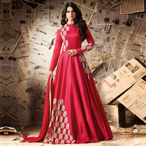 Festival Offer Designer Red Embroidered Work Silk Anarkali Suit Floor Length Salwar Suit