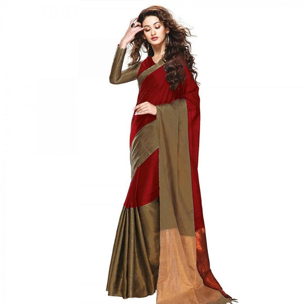 Red And Gold Printed Cotton Silk Saree With Blouse