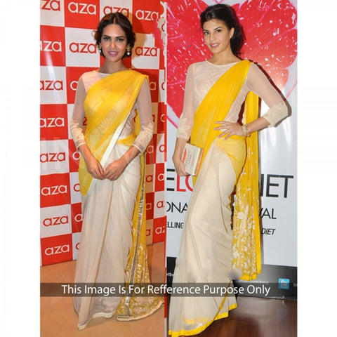 jacqueline-fernandez's-designer-bollywood-sarees-cream-and-yellow-half-&-half-bollywood-sarees-with-floral-embroidery