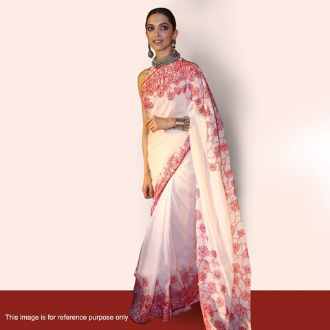 deepika-padukone's-white-color-bollywood-sarees-with-pink-floral-embroidery-work-designer-bollywood-sarees