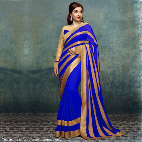 blue-color-bollywood-sarees-with-golden-striped-pattern-soha-ali-khan's-designer-bollywood-sarees