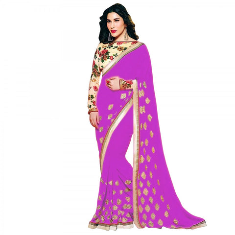 sophie-choudry's-purple-designer-bollywood-sarees-with-zari,-embroidery-&-shimmer-border-work