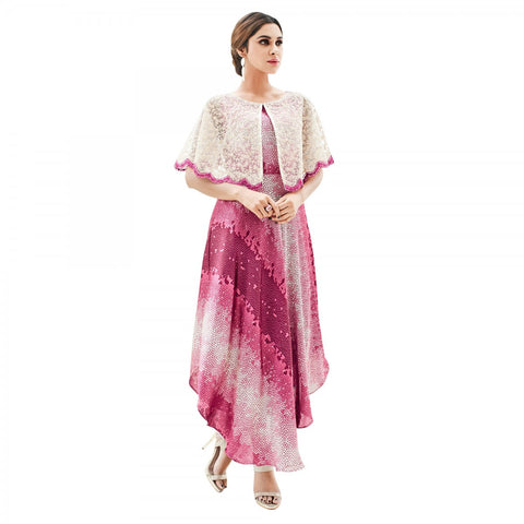 Eid Sale: Partywear Pink Colored Japan Satin With Net Cape Style Stitched Embroidered Western Kurtis