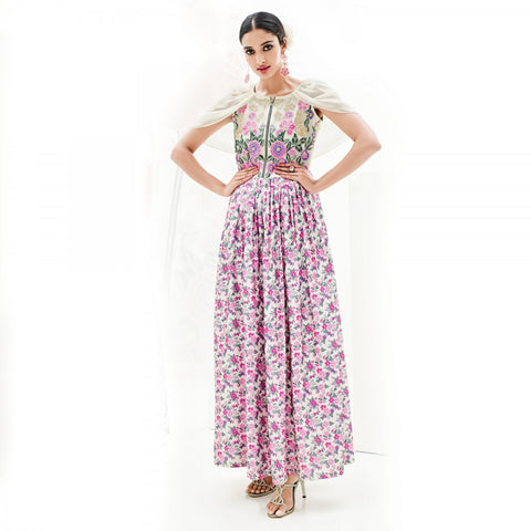 Eid Special: Designer Cream & Pink Colored Georgette And Japan Satin Floral Embroidery Stitched Kurti