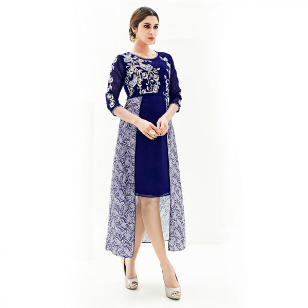 Eid Sale: Latest Western Kurtis Blue Color Georgette And Japan Satin Embroidered Stitched Kurti For Girl
