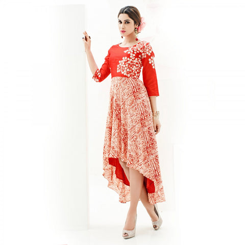 Eid Offer: Designer Red Colored Rayon Print Floral Embroidery Stitched Partywear Kurti