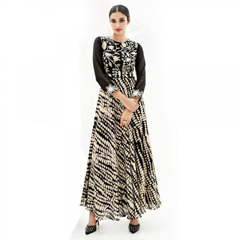 Eid Special: Designer Black And Cream Colored Banglori Silk Partywear Embroidered Stitched Kurti