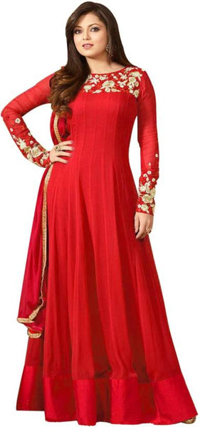 Red Color Anarkali Style Gown With Floral Embroidery Work
