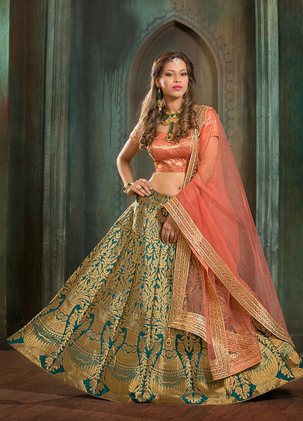 Bridal Lehenga Choli Sea Green Heavy Embroidered Hand Work Lehenga And Choli
