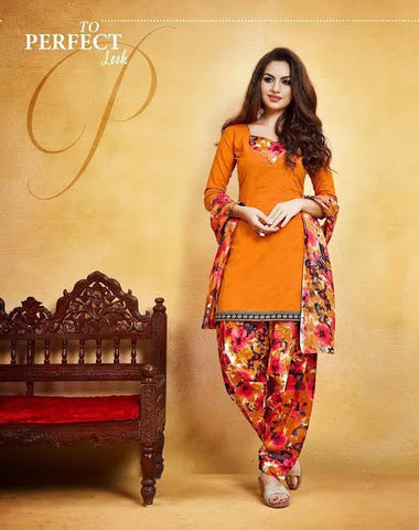 Latest Holi Collection Orange Punjabi Patiyala Dress Printed Patiyala Suit With Lace Border Un-Stitched Dress Material