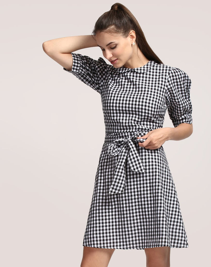 Buy Women Dresses Online Check Print Skater Dress Puff Sleeved Online  Dresses Shirt Style Designer Skater Sexy Dress – Lady India a9f20a44f