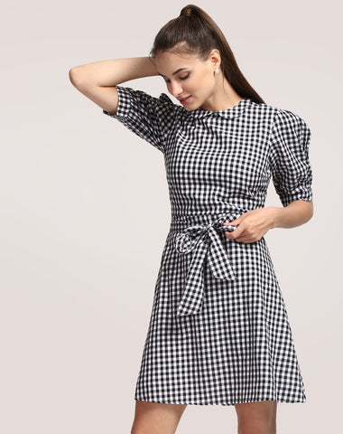 check-print-skater-dress-puff-sleeved-online-dresses