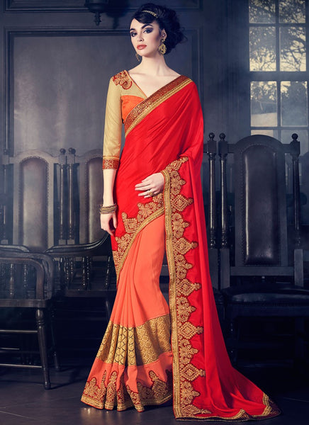 Designer Red And Orange Colored Marble Fancy Partywear Half & Half Patch Border & Stone Work Saree