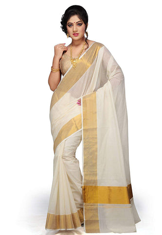 Golden And White Saree
