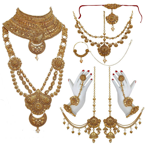 Golden Color Alloy Gold Plated Wedding Jewellery Set -