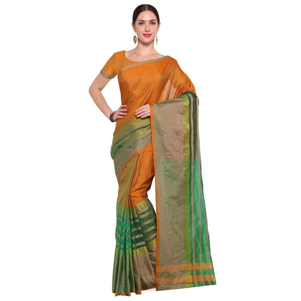 Green And Orange Saree