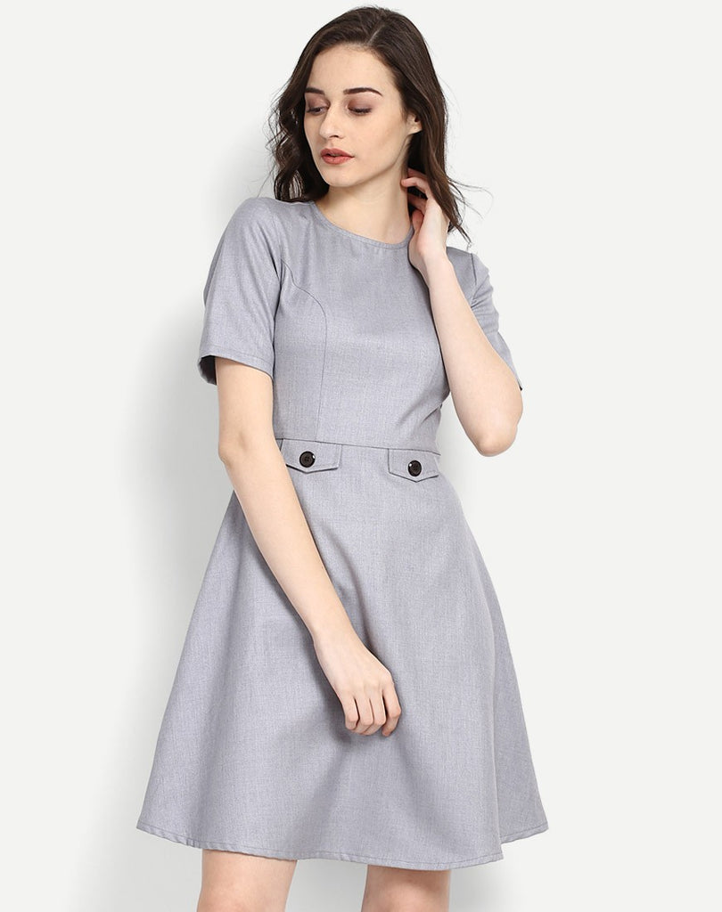 dd95ff958ed9 Get Online Grey Colored Designer Skater Dress Half Sleeves Round Neck Midi  Dress Party Wear Dress Formal Dresses Online In India – Lady India