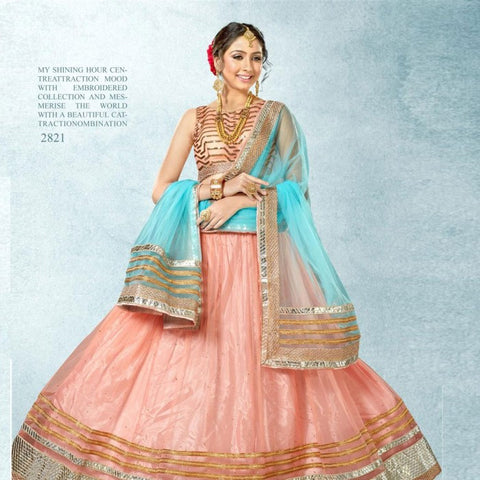 Lehenga Peach Colored Pure Net Heavy Embroidered Semi Stitched Lehenga Choli