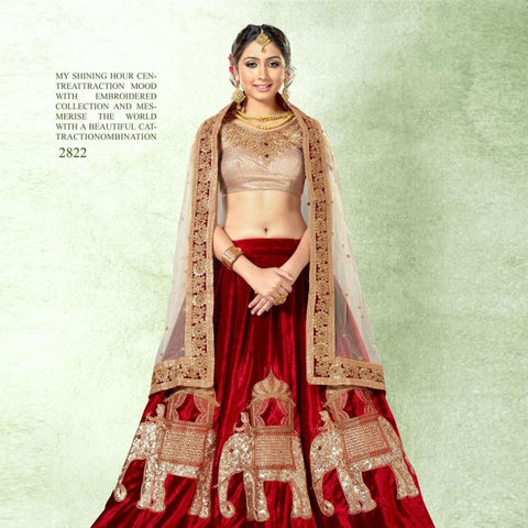Designer Bridal Wear Lehenga Heavy Embroidered Semi Stitched Lehenga Choli