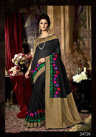 Silk Sarees Black & Beige Dyed Poly Art Silk Printed Saree