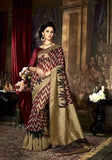 Maroon, Black & Beige Silk Sarees Dyed Woven Work Art Silk Printed Sarees