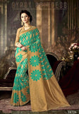 Shop Now Partywear Turquoise & Beige Colored Designer Art Silk Sarees Printed Saree