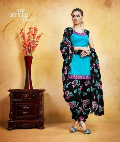 Holi Special Collection Sky Blue New Patiyala Dress Lawn Printed With Lace Border Un-Stitched Dress Material For Women