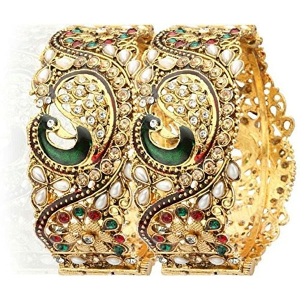 Designer Jewellery Dancing Peacock Traditional Antique Gold Plated Bangles For Women