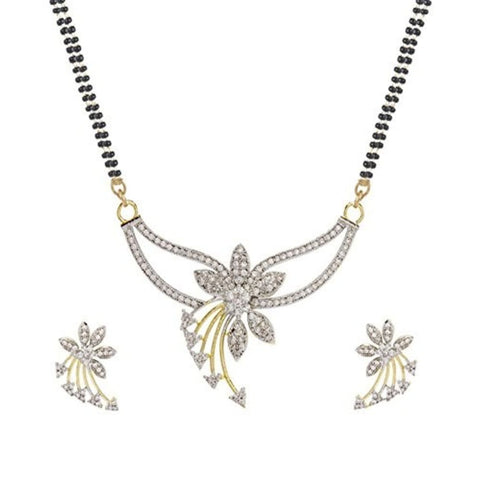 Designer American Diamond Gold Plated Mangalsutra With Chain And Earrings For Women
