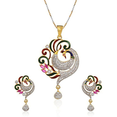 Designer Peacock Pendant Set With Chain Jewellery