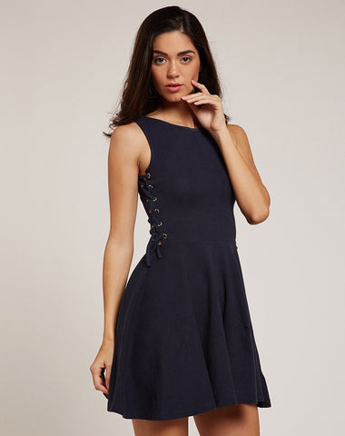 designer-dresses-online-navy-blue-skater-midi-dress