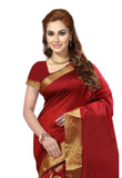 Designer Maroon Casual Wear Cotton Silk Saree With Broad Border And Golden Circle Print Pure Cotton Silk Sari