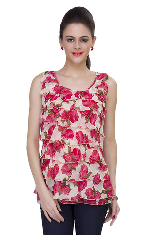 Pink Color Georgette Floral Print Sleeveless Round Neck Printed Casual Top
