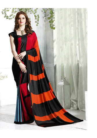 Beautiful Casual Wear Sarees Color Blocked Pattern Printed Crepe Sarees