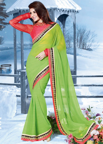 Jacqueline Fernandez in Saree - Plain Chiffon Saree in Light Green