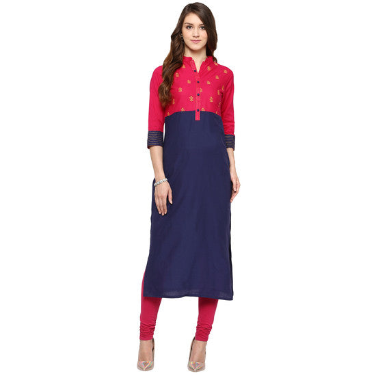 Embroidered Cotton Blue Kurti For Women