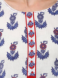 Designer Floral Cotton Printed White Multicolor Kurti For Women