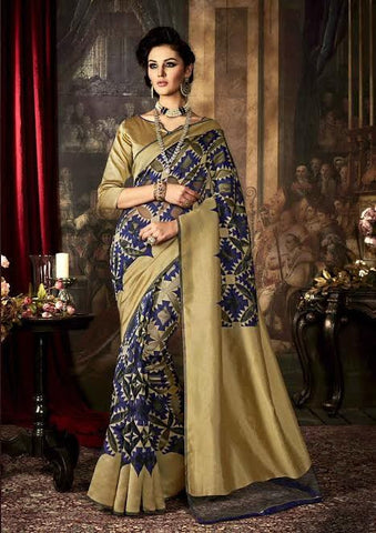 Art Silk Sarees Navy Blue & Golden Dyed Weaving Work Silk Printed Saree