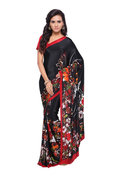 Crepe Sarees Casual Wear Designer Crepe Sarees With Red Plain Blouse
