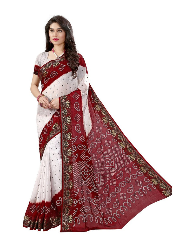 87d4542d49 Shop Online Rajasthani Chunari Sarees Lotus Print Lace Border Bandhani Saree  – Lady India