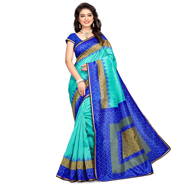 Traditional Poly Cotton Sarees Blue & Green Printed Casual Cotton Sari For Women