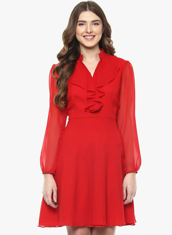 Online Designer Dresses Red Solid Skater Dress