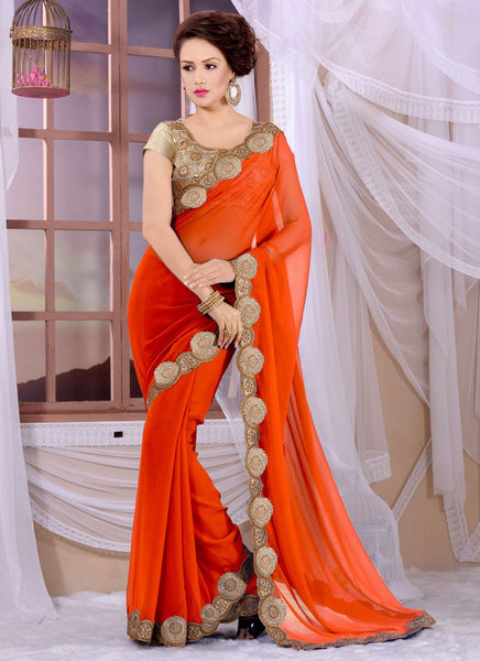 Latest Georgette Orange Designer Bridal Saree With Golden Designer Border Sarees