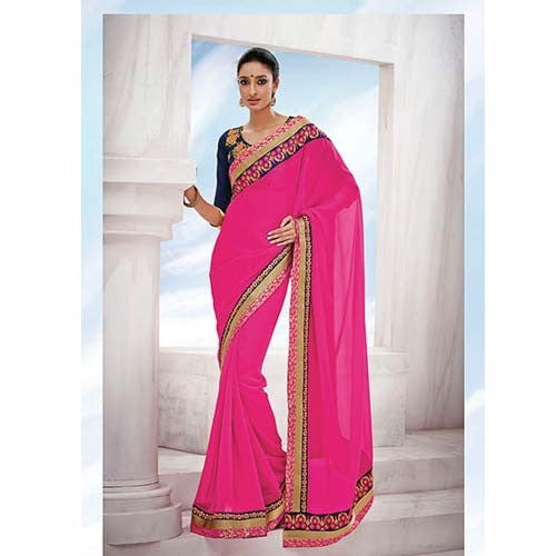 Urban-Naari-Magenta-Colored-Georgette-Embroidered-Saree