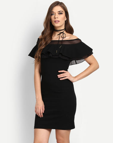 off-shoulder-ruffle-sleeve-black-dress-for-women-dress-bodycon-dress