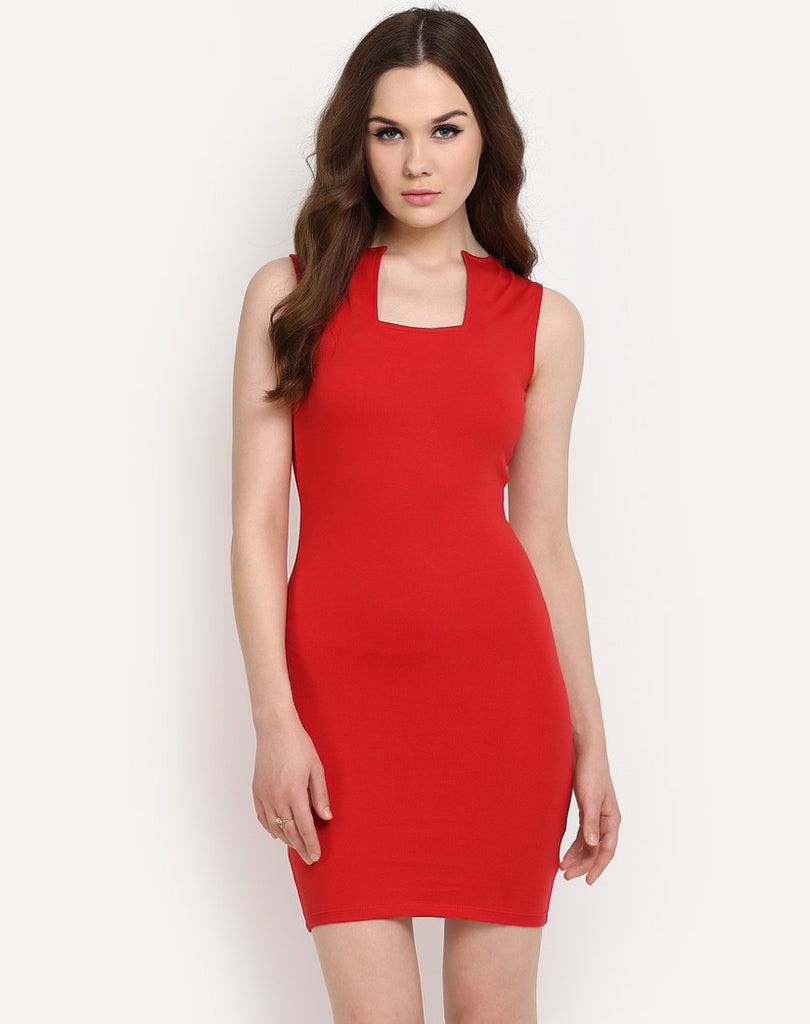 57c344e0d7a3 Online Designer Red Colored Bodycon Dress Sleeveless Midi Dress at  Affordable Prices – Lady India