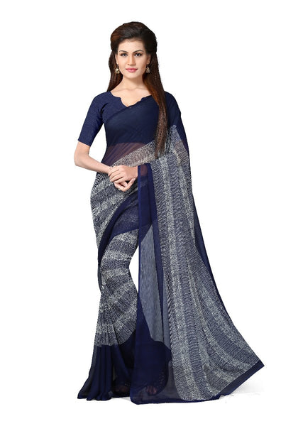 Blue Printed Chiffon Sarees Online With White Broad Border Print