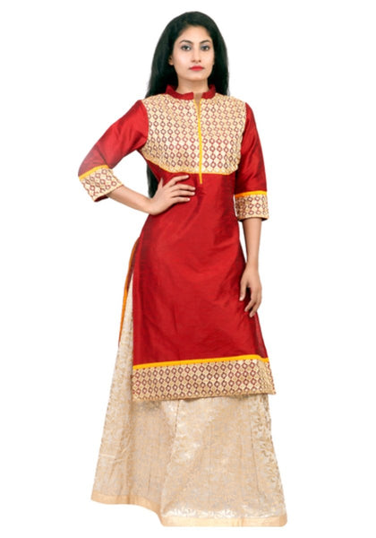 Designer Red & Beige Color Long Kurti With Long Skirts For Women